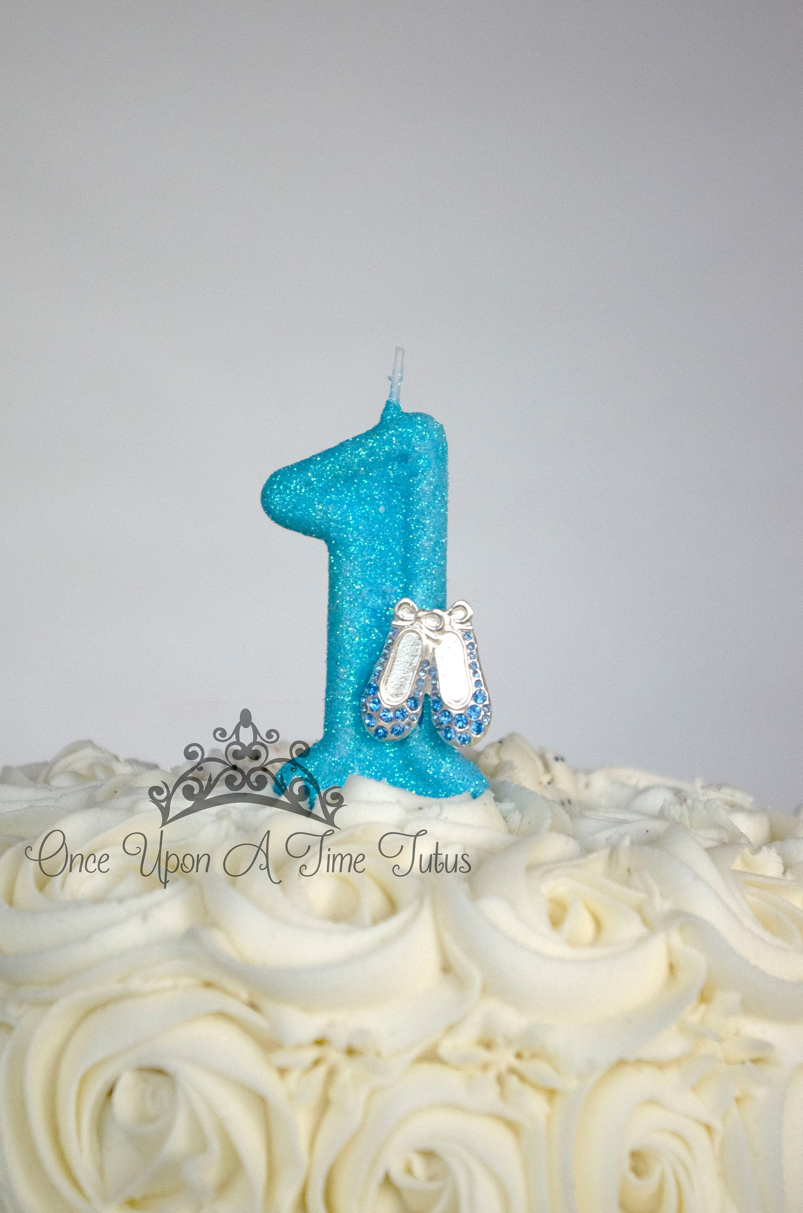 blue ballet glitter birthday candle - ballerina dancer party decor supplies sparkly sparkle cake topper keepsake - standard size