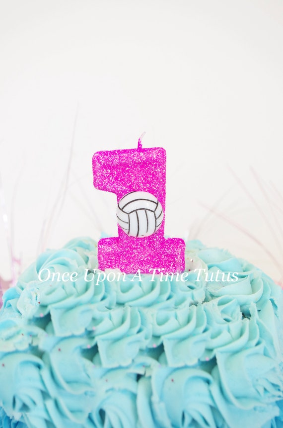 Pink Vollyeball Glitter Birthday Candle Sports Ball