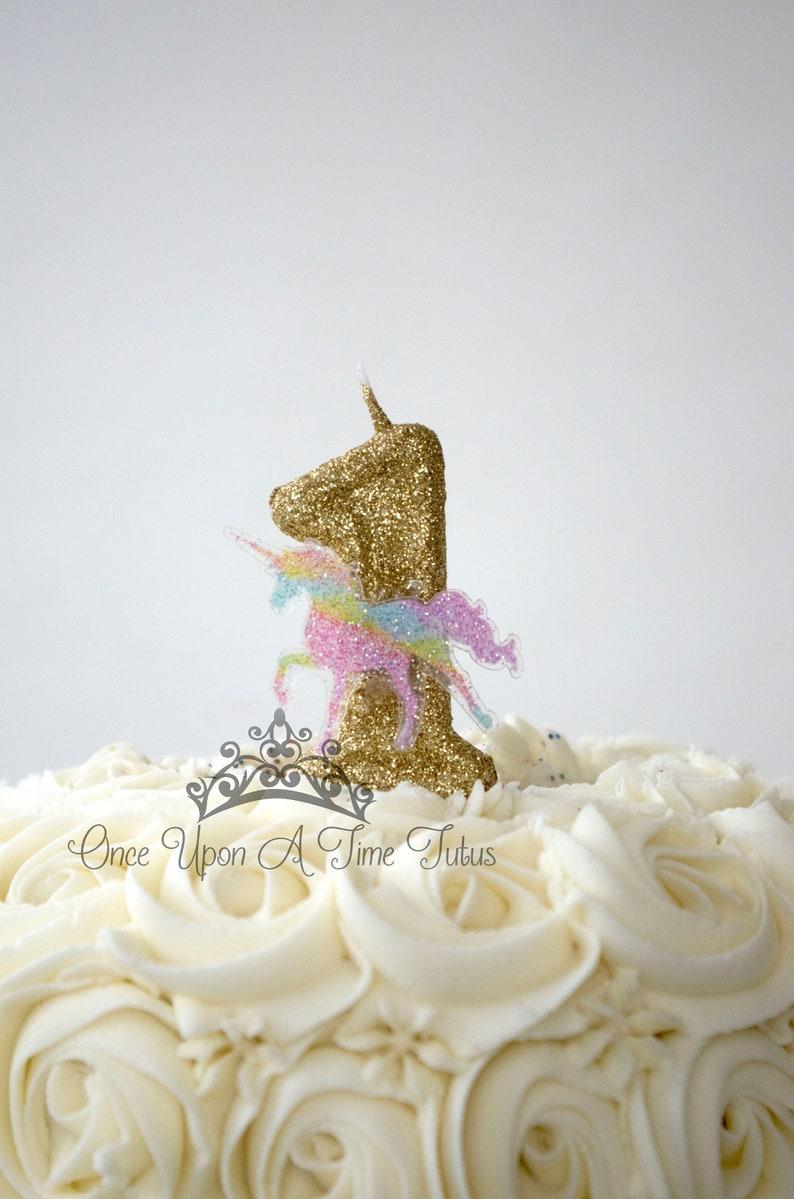 Gold Glitter Pastel Rainbow Unicorn Horse Birthday Candle