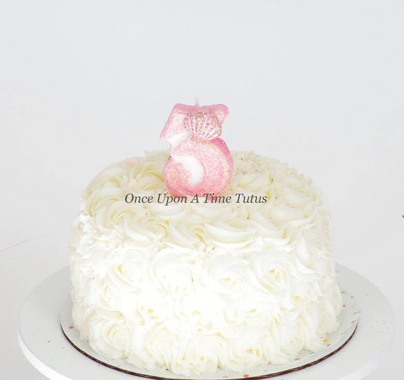 Light Pink Glitter Mermaid Shell Birthday Candle