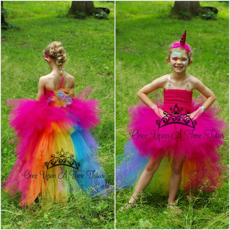 be4ede0baed0 Bright Rainbow Unicorn Bustle Tutu Dress Girls Size 6 12 | Etsy