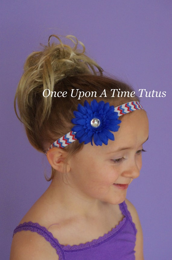 Red White Blue Chevron Daisy Headband Royal Blue Flower  ce838d6461f2