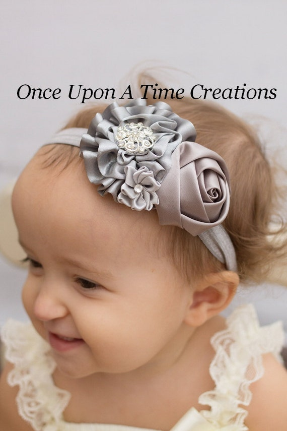 Christmas Headband For Baby Girl.Silver Winter Christmas Headband Baby Girl Hair Bow Dressy Hairbow Shades Of Gray Little Girl S Holiday Headband