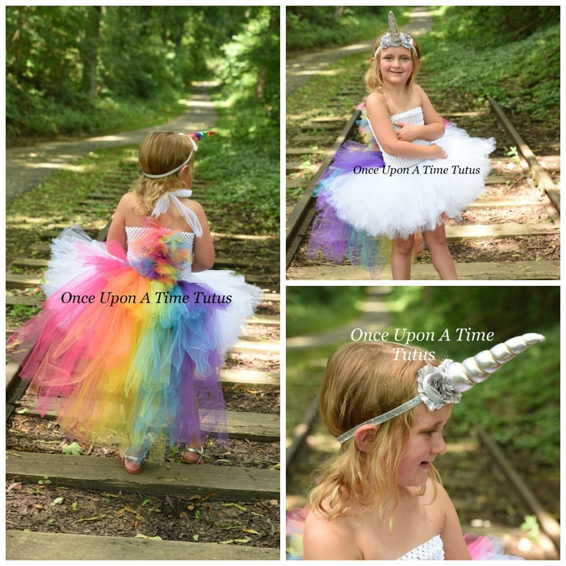 57225fe5ee2 Bright Rainbow Unicorn Bustle Tutu Dress Girls Size 6 12