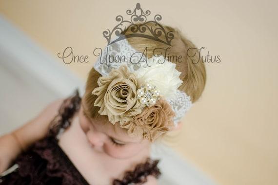 fa69b3ae07da Rustic Pearl Shabby Flower Dressy Headband Baby Girl Hair
