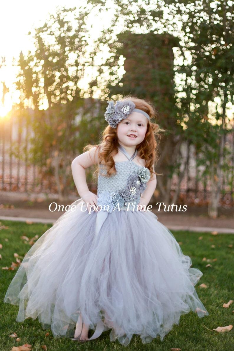 270648b4e4c Gray Flower Girl Tutu Dress Spring Photo Prop Baby Girls