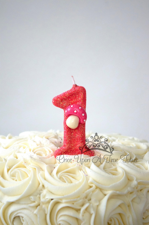 Coral Mushroom Glitter Birthday Candle Fairy Garden