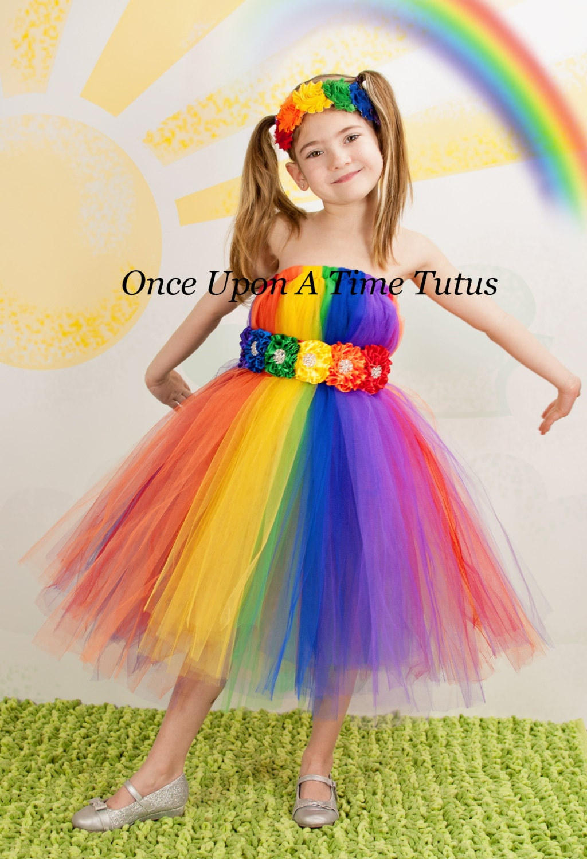 Bright Rainbow Tutu Dress Child Girls Size 12 Months 2t 3t Etsy