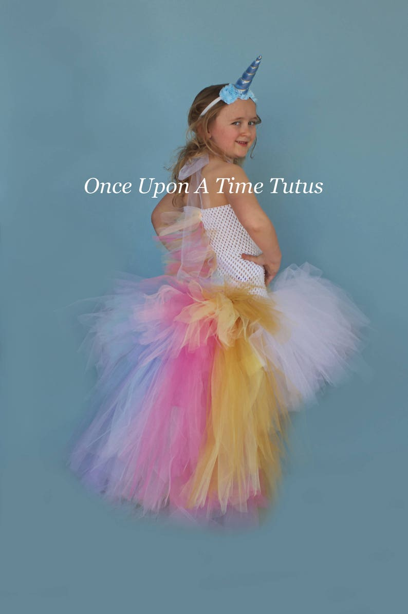 Halloween Costumes For Kids Girls 9 And Up.Pastel Unicorn Bustle Tutu Dress Girls Size 12 Months 2t 3t 4t 5 6 7 8 9 10 12 Birthday Halloween Costume Kids Colorful Pony Mane Horn