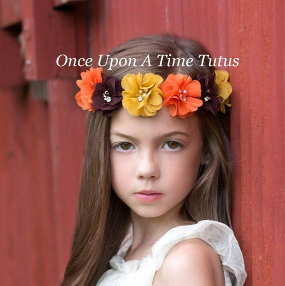L'automne Pearl Flower Couronne Halo - Hippie Chick Halo Photo Prop noeud - enfant en bas âge enfant filles cheveux noeud accessoire - Boho maigre bande