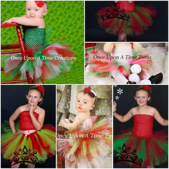 First Christmas Tutu Little girls Tutu Fluffy red and green infant tutu Baby Girl Christmas photo Christmas Tutu Smash cake tutu