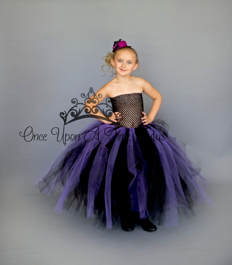 fdc46e922 Full Length Long Witch Tutu Dress Black Purple Little Kids | Etsy