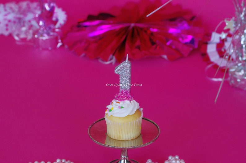 Ombre Glitter Birthday Candle Pink Silver Party