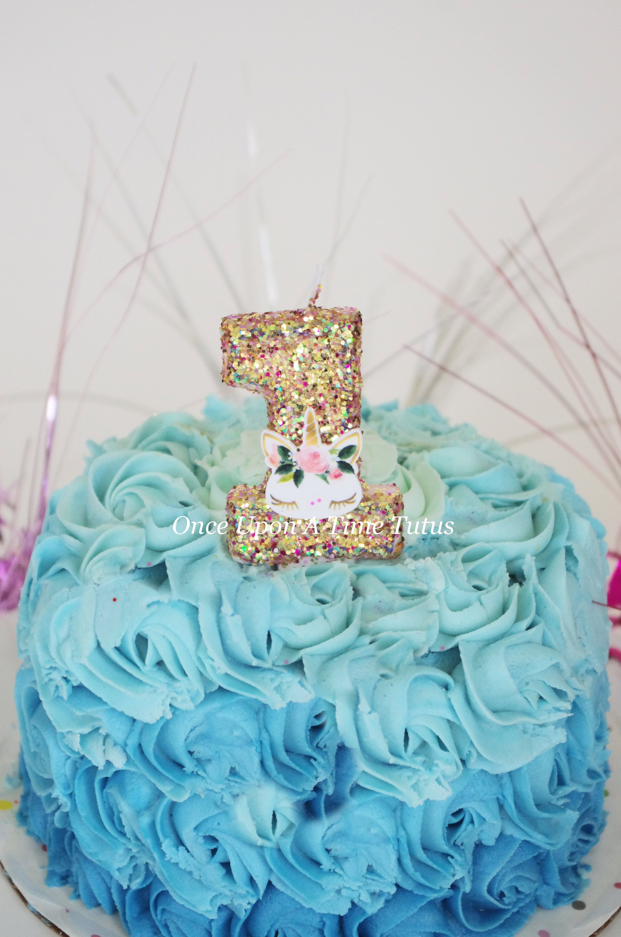 Pink Gold Glitter Pastel Rainbow Unicorn Horse Birthday Candle