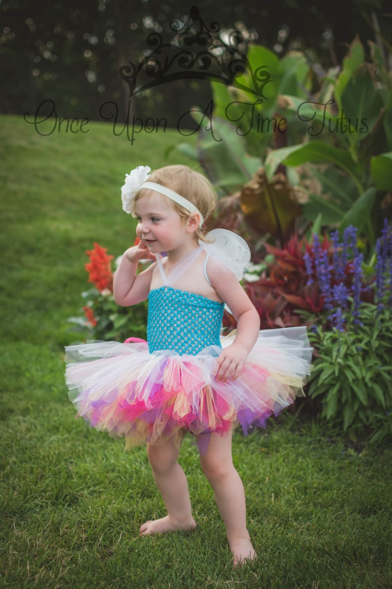 ea46aea56d4a0 Bright Rainbow Fairy Tutu or Dress - Baby Girls Newborn 6 12 Months 2T 3T  4T 5 6 Birthday, Halloween Costume, Baby Gift - Colorful Butterfly