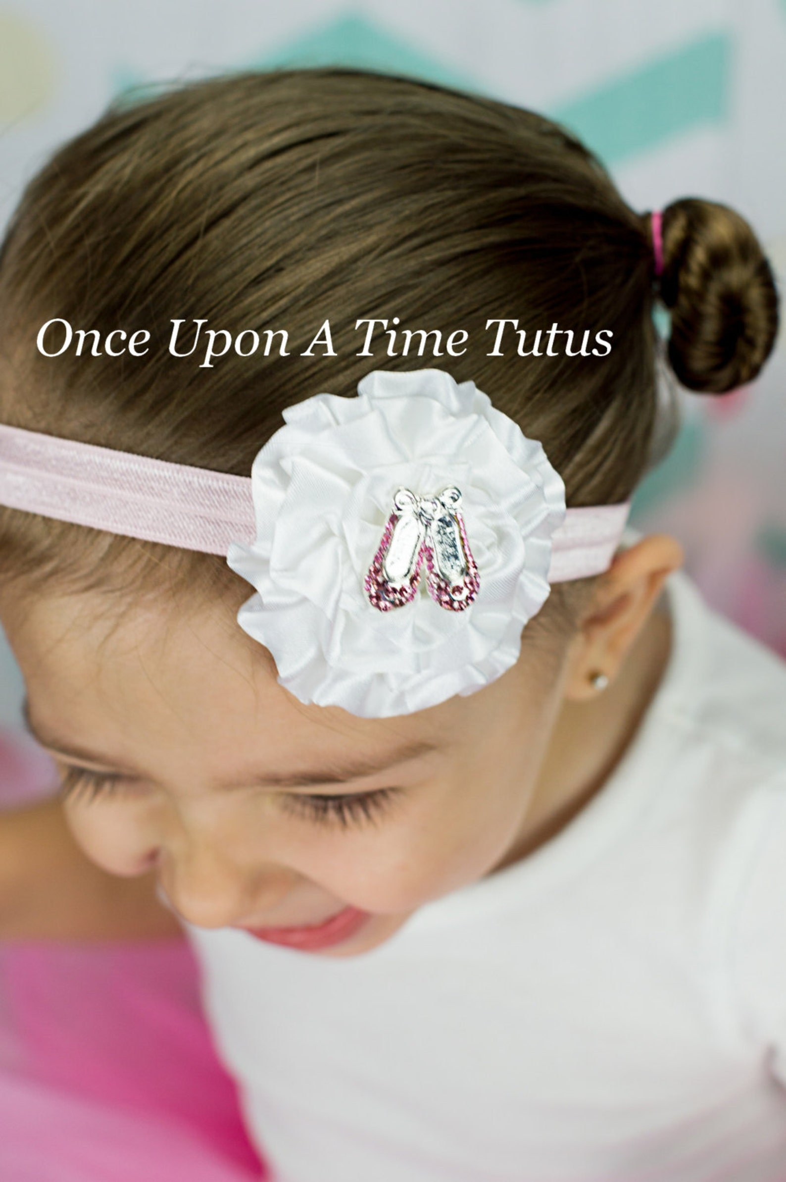 pink and white ballet shoes headband - ballet girl tiny dancer hairbow - newborn baby little girl photo prop - pink kids hair ac