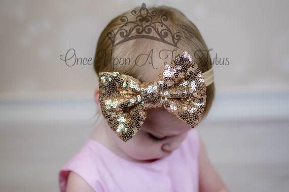 Gold Sequin Bow Headband Sparkle Hair Bow Newborn Baby Etsy