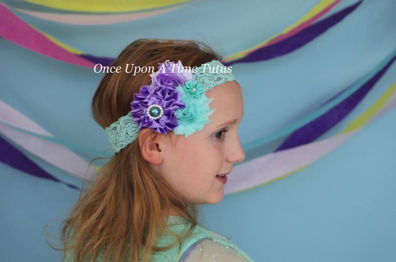 Mint Ivory Shabby Flower Lace Wedding Dressy Headband Baby Girl Bow Hairbow