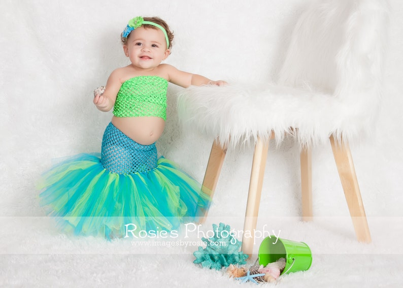 Sea Mermaid Fisthail Tutu Baby Little Girl Size 3 6 12 Months Halloween Costume