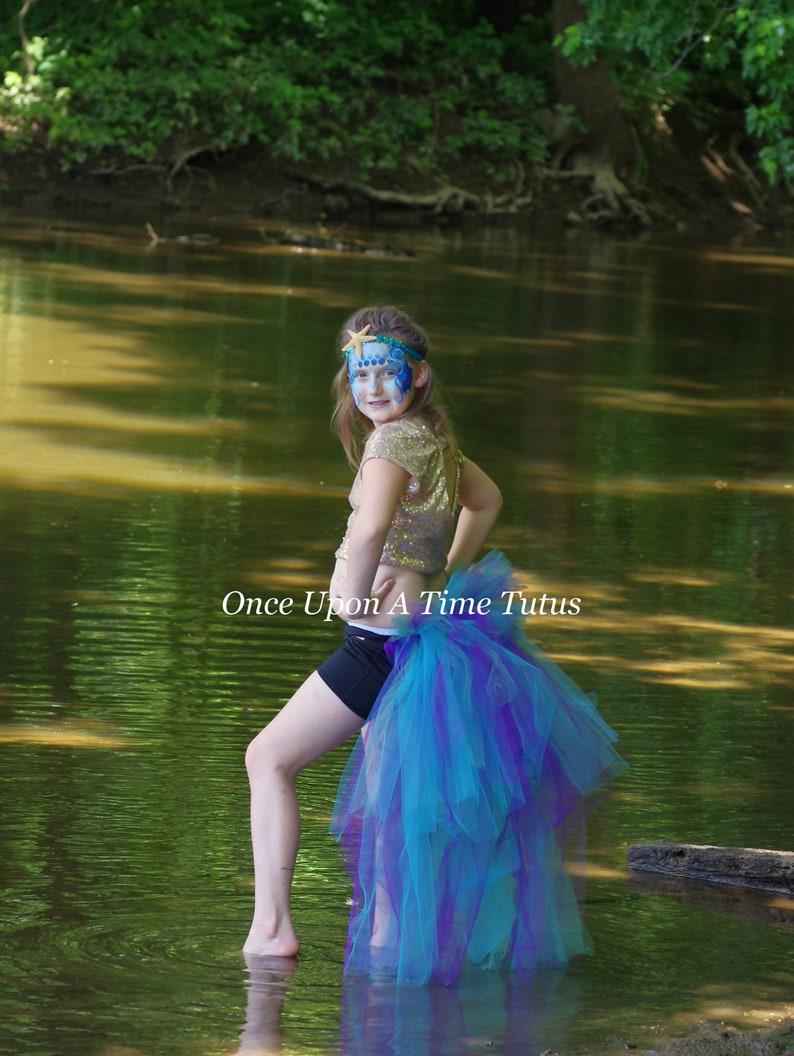 919aa24b2 Mermaid Peacock Bustle Open Front Tutu Skirt Halloween   Etsy