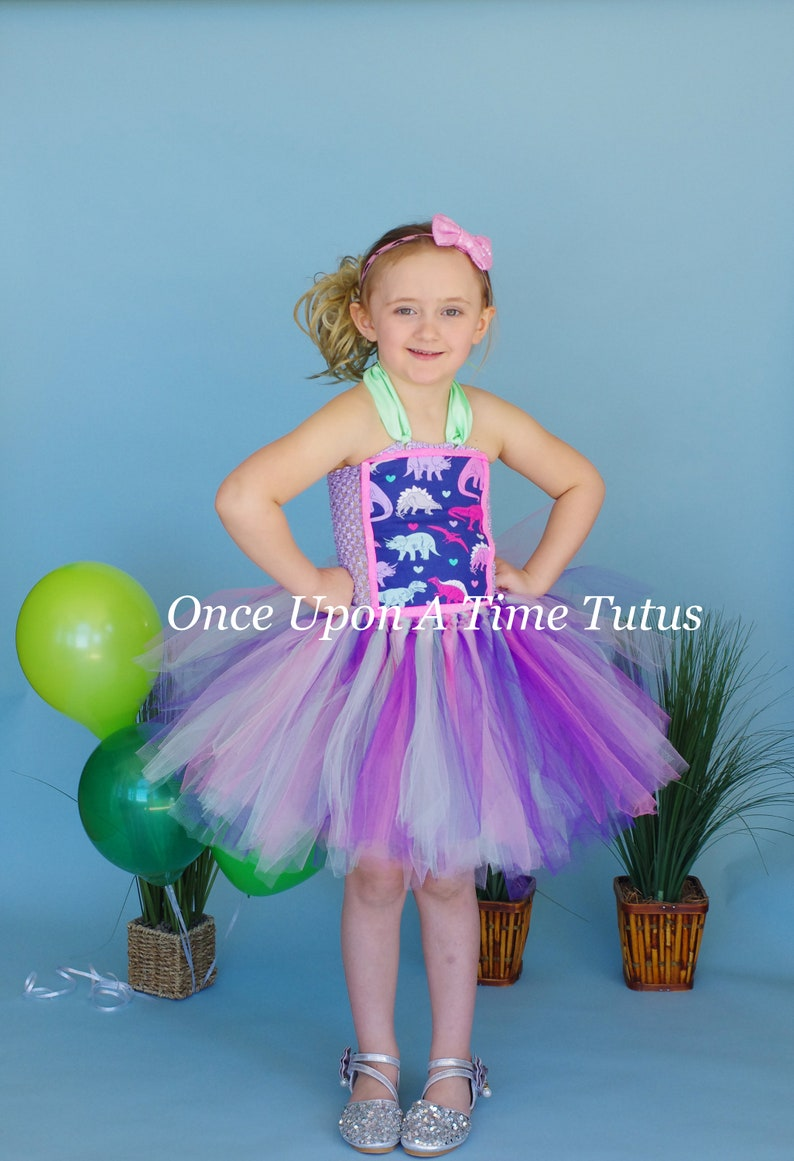 Kids Pink Purple Mint Green Dino Print Deluxe Tulle Dress Outfit Girly Dinosaur Tutu Dress Little Girls Size 6 12 Months 2T 3T 4 5 6 7 8