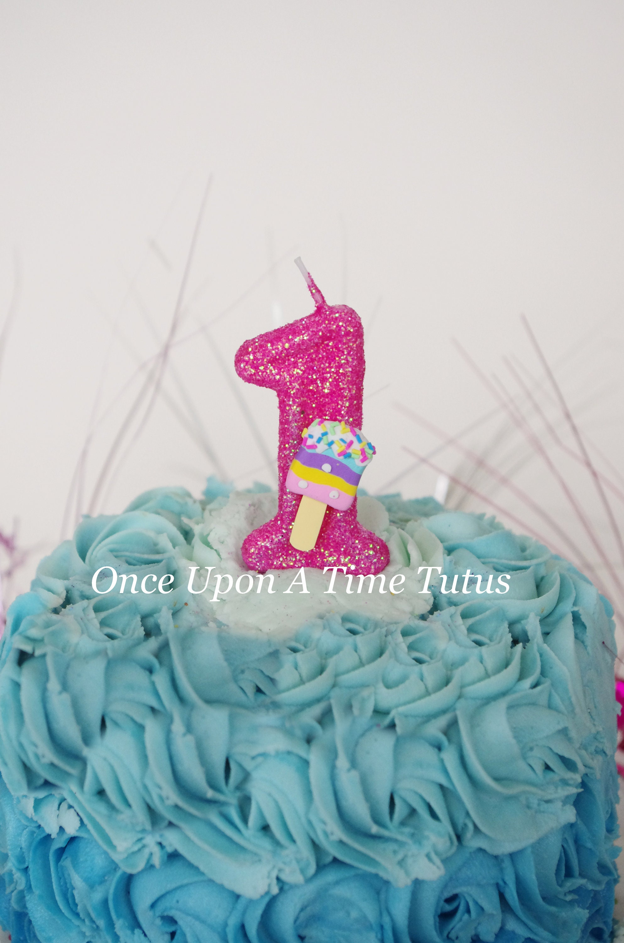 Hot Pink Glitter Birthday Candle Ice Cream Pop Party