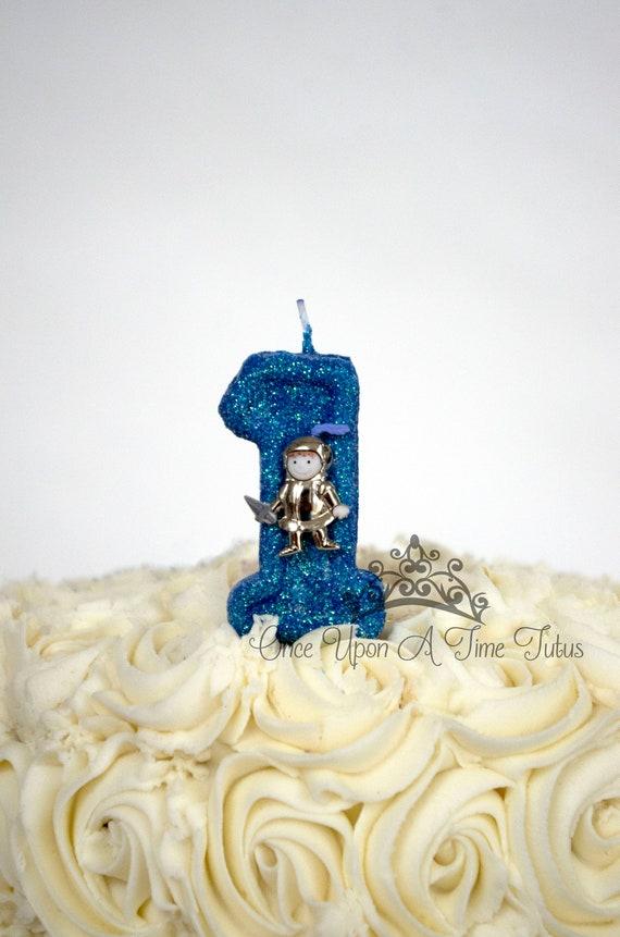 Magnificent Dark Blue Glitter Knight Birthday Candle Medieval Birthday Etsy Funny Birthday Cards Online Overcheapnameinfo
