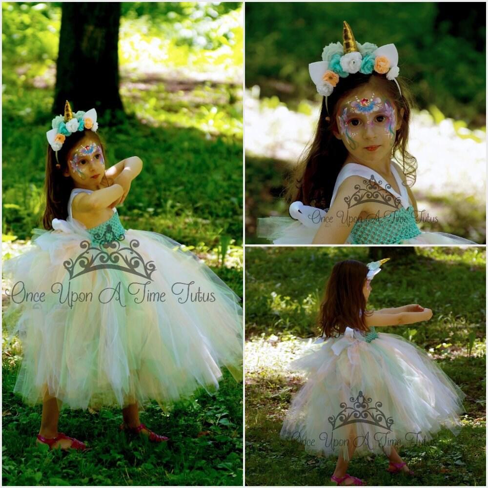 1c83dc323372 Mint Peach White Layered Unicorn Tutu Dress - Little Girl Child Size 6 12  Months... Mint Peach White Layered Unicorn Tutu Dress - Little Girl Child  Size 6 ...