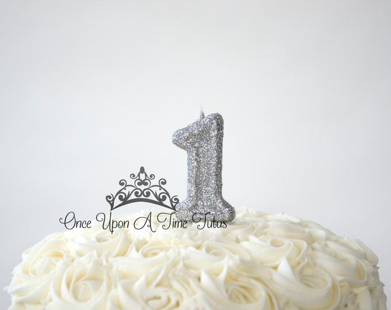 Silver Glitter Birthday Candle Party Decor Supplies