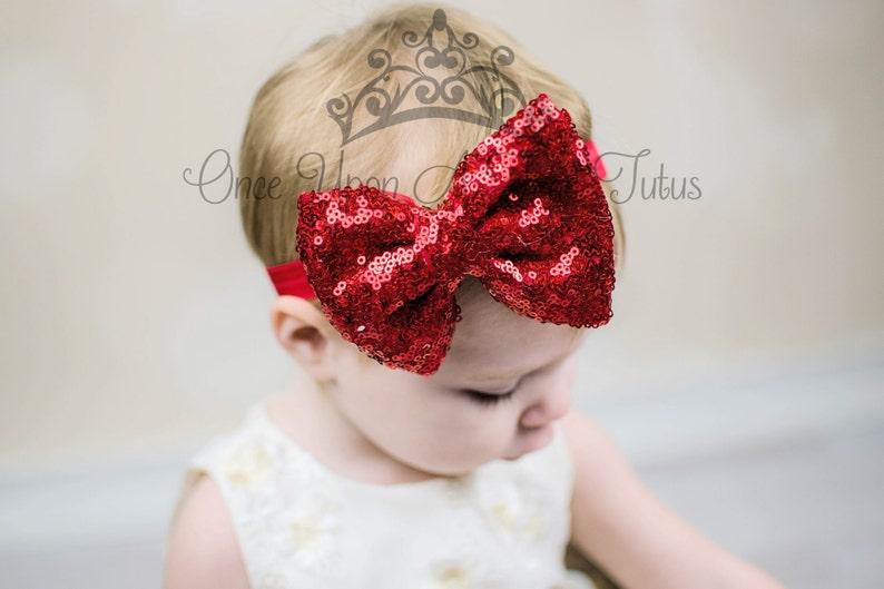 Red Holiday Flower Newborn Baby Girl Headband Valentines or Christmas Hair Bow
