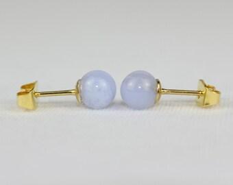 55c8de40b 6mm Blue Lace Agate Studs 6 mm Blue Lace Agate Aqua Earrings Sphere Stud  Earring MapenziGems
