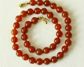 "Carnelian Necklace 10mm Carnelian Beads. Grade 'A' Therapeutic Healing Grade. 20"" Hand Knotted. MapenziGems"