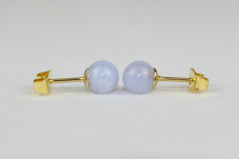 9ct Gold Green Agate Studs 6mm round earrings Gift Boxed Made in UK