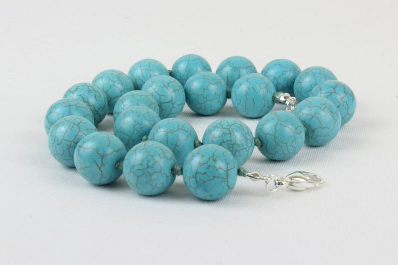 Turquoise Necklace 16mm Turquoise Hand Knotted Necklet 17 inches Large Chunky Beads Necklace MapenziGems