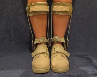 9bcaf61c396 AFO Metal and Leather Lower Leg Braces with Orthopedic Shoes Bondage Fetish