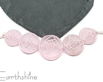 Set 5 etched pale pink deco rose beads   Handmade lampwork glass beads   Flameworked glass beads.
