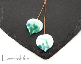 Pair of Emerald Isle spade headpins   handmade lampwork glass   Earring pair