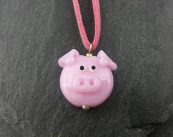 Piggy handmade lampwork glass necklace