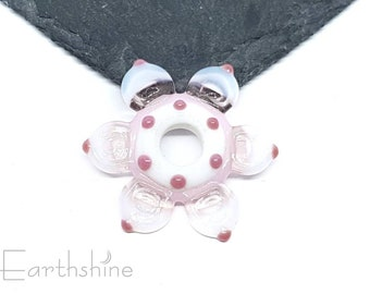 Pink and white large daisy bead   Handmade lampwork glass.