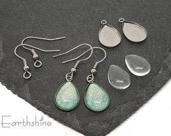Teardrop earring kit. 5 pairs. Just add nail varnish.