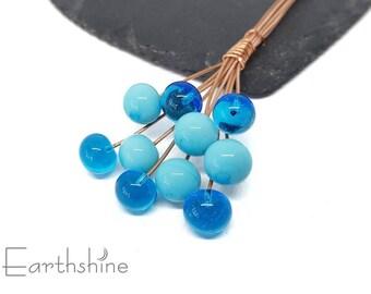 10 turquoise ball headpins   Handmade lampwork glass