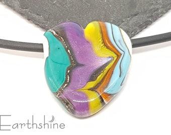 DESTASH Large organic heart focal bead   handmade lampwork glass