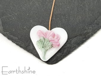 Pink and white floral heart focal headpin   handmade lampwork glass