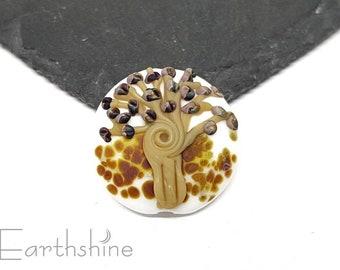 SALE Autumnal focal tree bead   Handmade lampwork glass