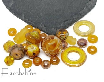 25 amber spacer bead mix   Handmade lampwork glass beads   Flameworked glass beads.