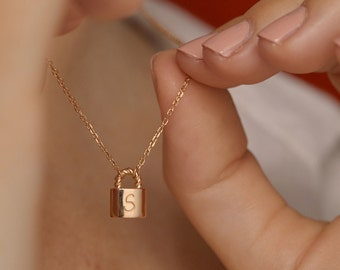 Personalized Padlock Necklace, gold plated padlock necklace, anniversary necklace