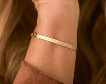 Personalized Flat Bangle, hand engraved bangle, Merci Maman gift for girlfriend, best friend or wife for birthday