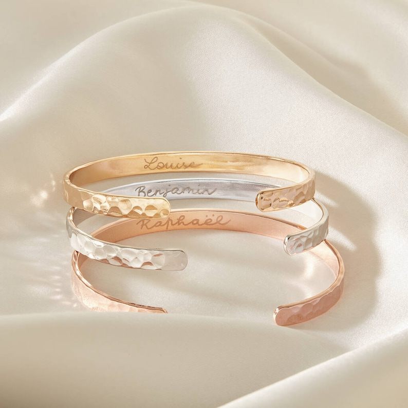 Personalized Hammered Open Bangle stacking bangle with inside image 0