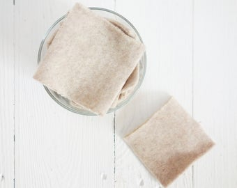 """SQUARE reusable Facial """"rounds"""", unbleached / Very soft """"Reusable Cotton Rounds"""" - set of 8, zero waste, plasticfree, washable, organic"""