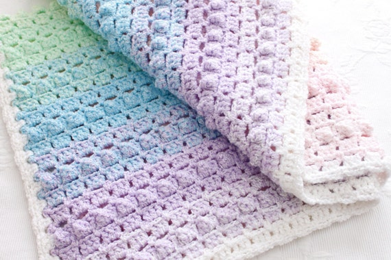 Crochet Pattern Rainbow Baby Blanket Pretty Popcorn Stitch Etsy
